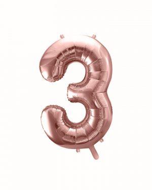 Balón číslo 3 tri fóliový ružovo zlatý 35cm