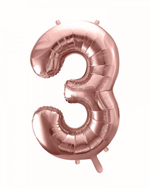 Balón číslo 3 tri fóliový ružovo zlatý 86cm