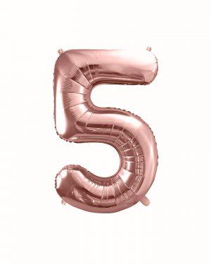 Balón číslo 5 päť fóliový ružovo zlatý 35cm