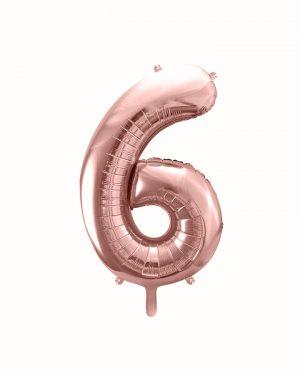 Balón číslo 6 šesť fóliový ružovo zlatý 35cm