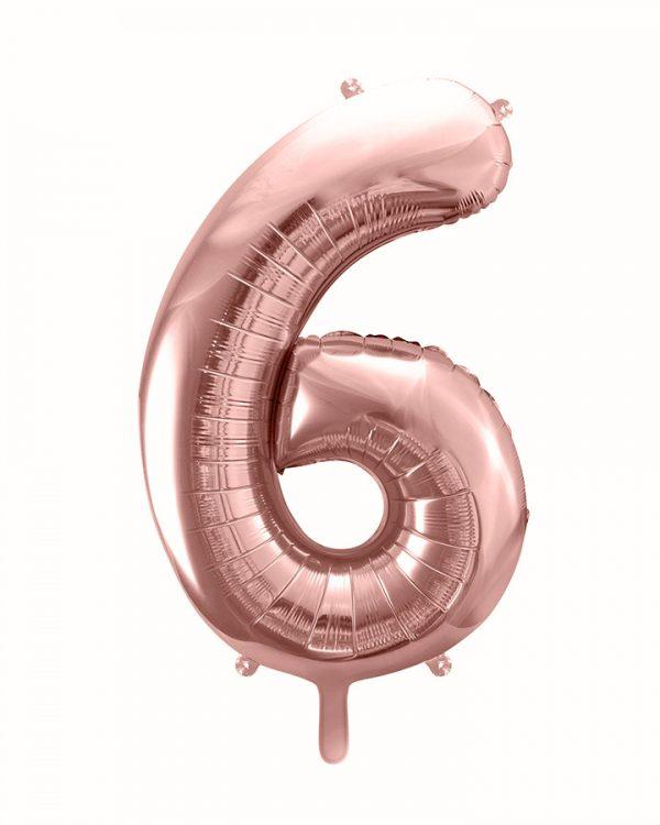 Balón číslo 6 šesť fóliový ružovo zlatý 86cm