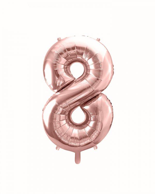 Balón číslo 8 osem fóliový ružovo zlatý 35cm