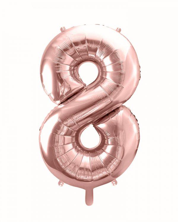 Balón číslo 8 osem fóliový ružovo zlatý 86cm