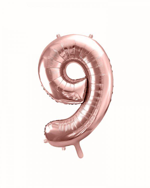 Balón číslo 9 deväť fóliový ružovo zlatý 35cm
