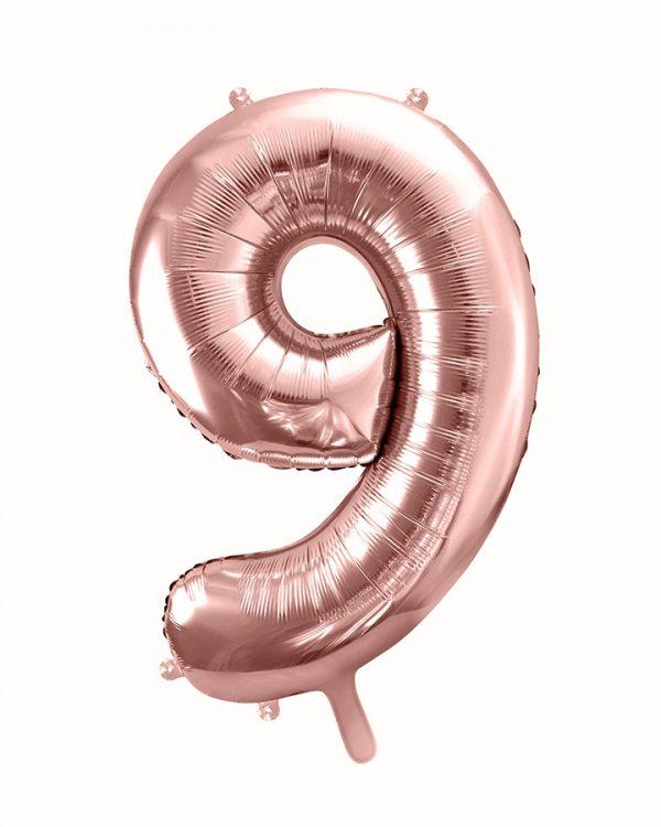 Balón číslo 9 deväť fóliový ružovo zlatý 86cm