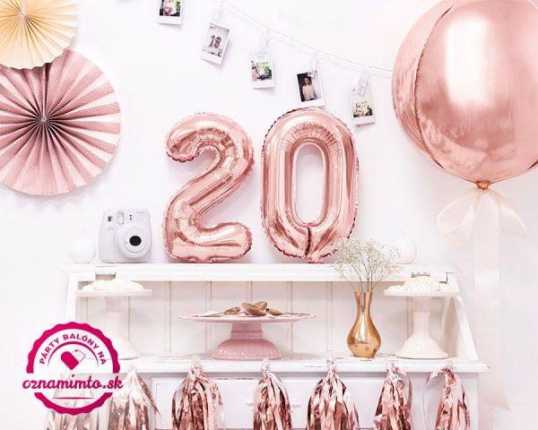 Balón s číslom 20 narodeniny ružovo zlatý