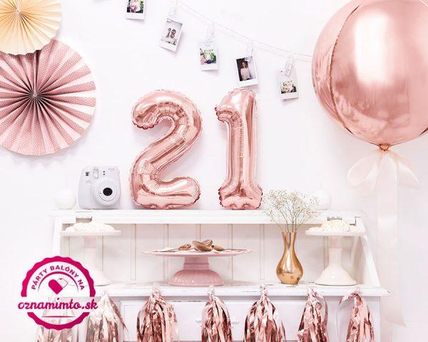 Balón s číslom 21 narodeniny ružovo zlatý