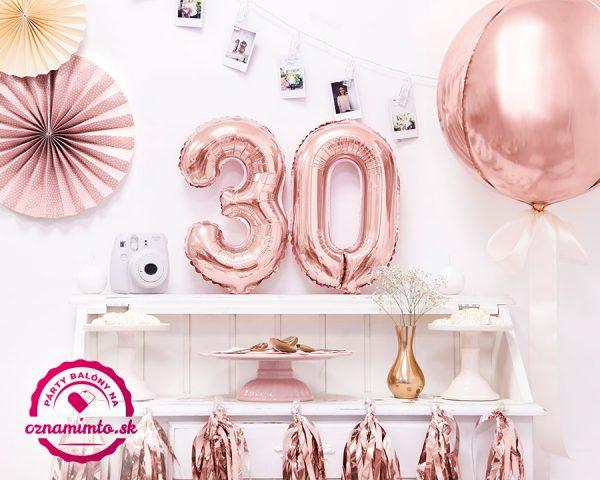 Balón s číslom 30 narodeniny ružovo zlatý