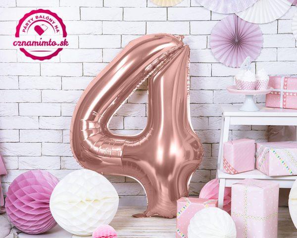 Balón s číslom 4 ružovo zlatý