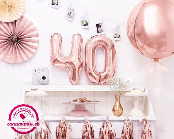 Balón s číslom 40 narodeniny ružovo zlatý