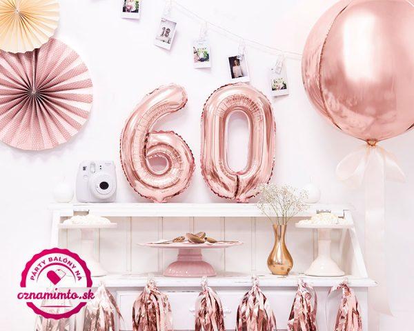 Balón s číslom 60 narodeniny ružovo zlatý