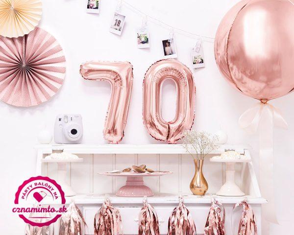 Balón s číslom 70 narodeniny ružovo zlatý