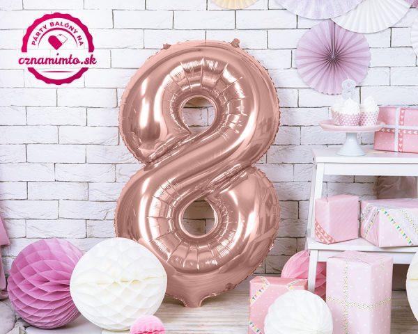 Balón s číslom 8 ružovo zlatý