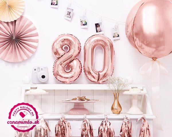 Balón s číslom 80 narodeniny ružovo zlatý