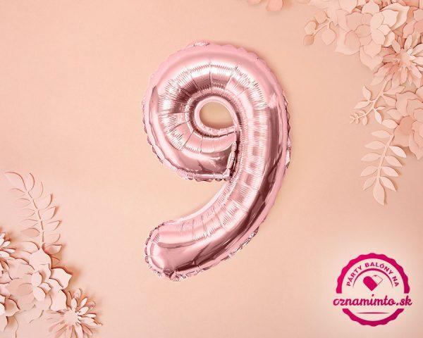 Balón s číslom 9 ružovo zlatý