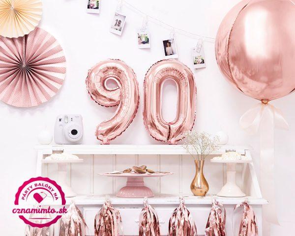 Balón s číslom 90 narodeniny ružovo zlatý
