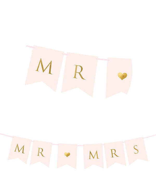 Banner ružovo zlatý MR & MRS