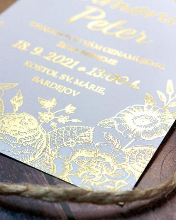 Metalické svadobné oznámenia, zlatá metalická potlač