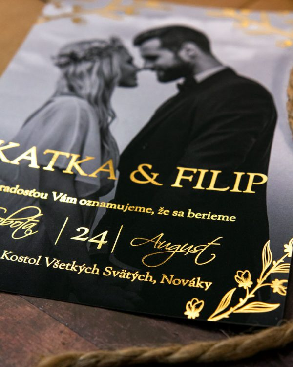 Luxusné metalické svadobné oznámenia s fotkou, zlatá metalická potlač