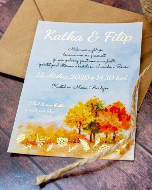 Jesenné metalické svadobné oznámenia, zlatá metalická potlač