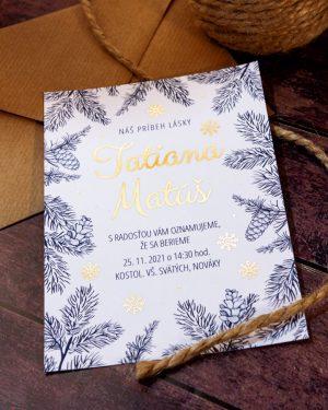 Metalické zimné svadobné oznámenia, zlatá metalická potlač