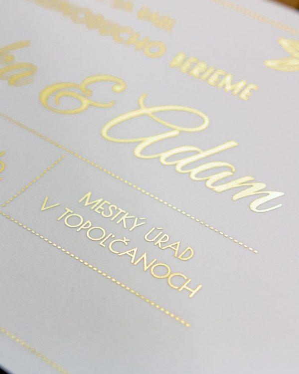 Metalické svadobné oznámenia DL, zlatá metalická potlač
