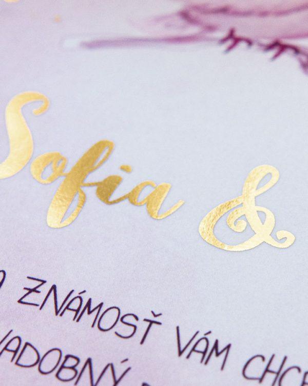 Metalické svadobné oznámenia s holubicami, zlatá metalická potlač