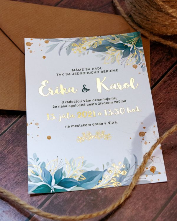 Greenery metalické svadobné oznámenia s holubicami, zlatá metalická potlač