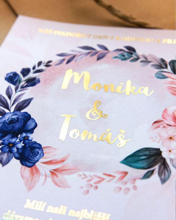 Metalické svadobné oznámenia šípové ruže, zlatá metalická potlač