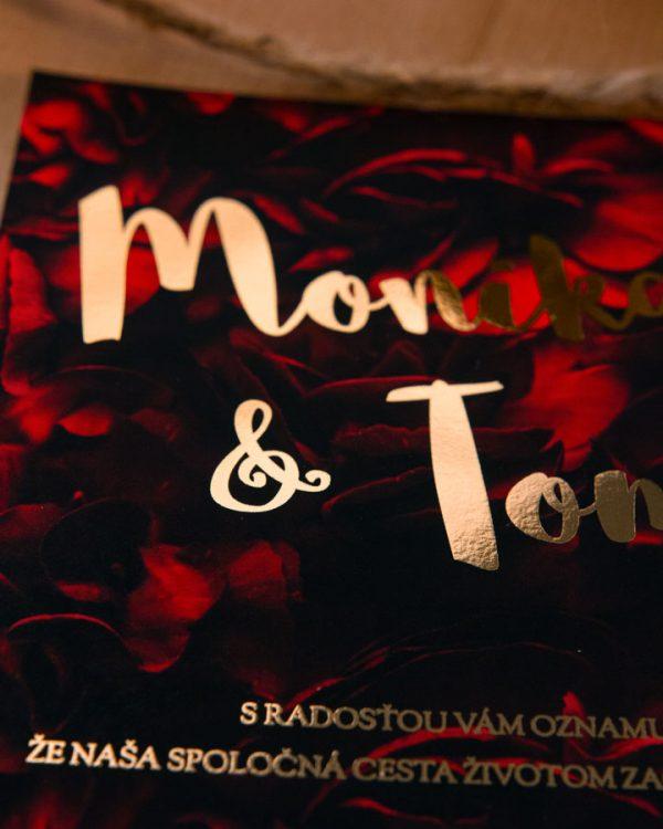Metalické svadobné oznámenia so šípovými ružami, zlatá metalická potlač
