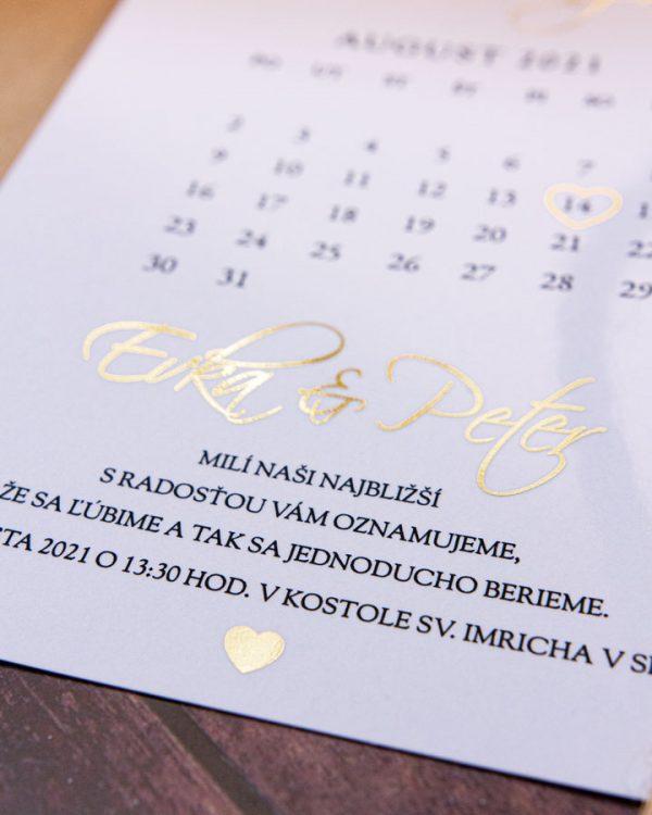 Metalické svadobné oznámenia s kalendárom, zlatá metalická potlač