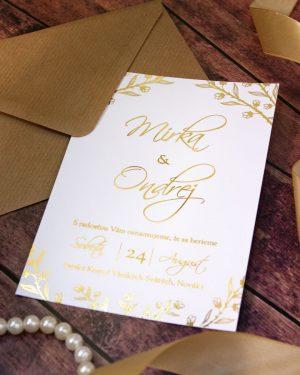 Elegantné metalické svadobné oznámenia, zlatá metalická potlač