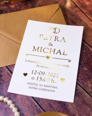 Luxusné zlaté metalické svadobné oznámenia, zlatá metalická potlač