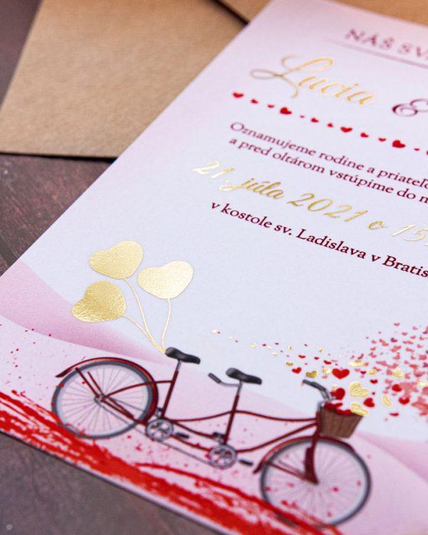 Originálne metalické svadobné oznámenia s bicyklom, zlatá metalická potlač