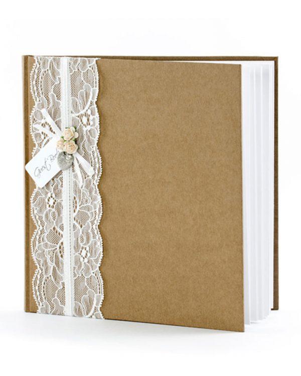 Svadobná pamätná kniha hnedá kraft s čipkou