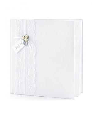 Elegantná svadobná pamätná kniha biela s čipkou