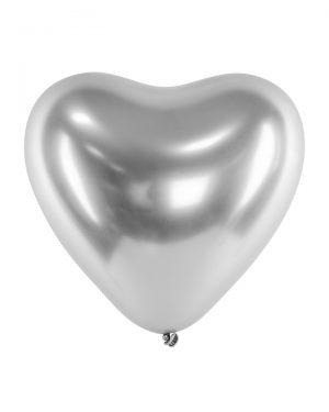 Svadobné balóny - chrómové strieborné srdcia