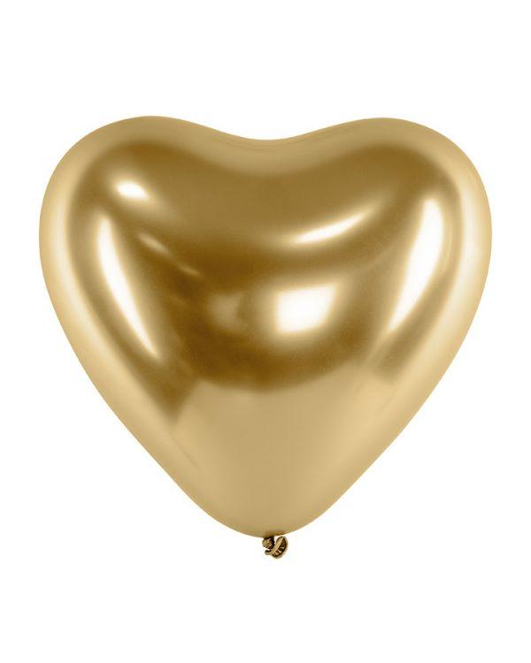 Svadobné balóny - chrómové zlaté srdcia