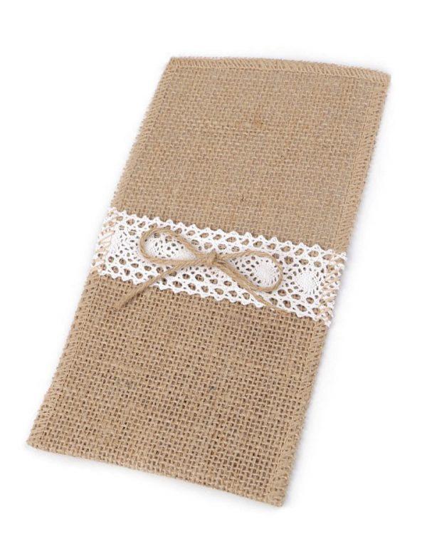 Jutové vrecko na príbor s čipkou a jutovou mašľou